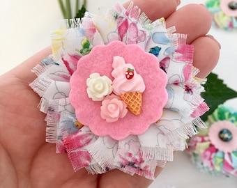 Fabric flower brooch - ice cream and roses fabric flower brooch  FB038