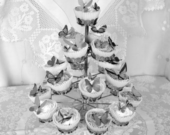 Edible Butterflies Shades of Grey Black White Wafer Rice Paper 3D Butterfly Wedding Cake Toppers Birthday Cupcakes Favours Decorations RTD