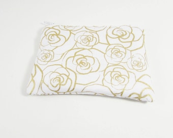 Gold Rose Coin Purse - Ready to Ship - Coin Purse - Change Purse - Small Credit Card Wallet - Zip Money Bag