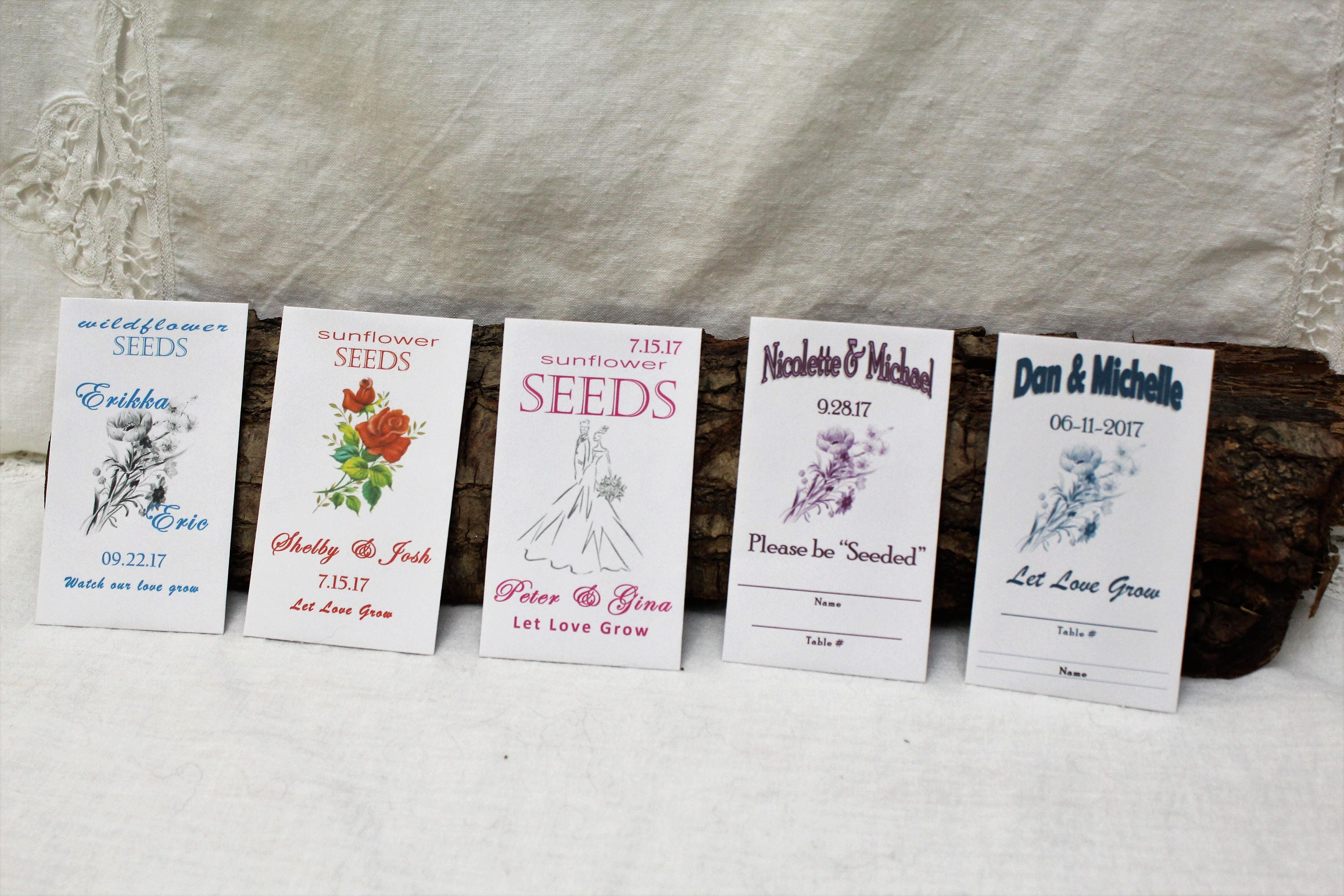Wedding Favors Wildflower Sunflower Seed Packets Seed Packet