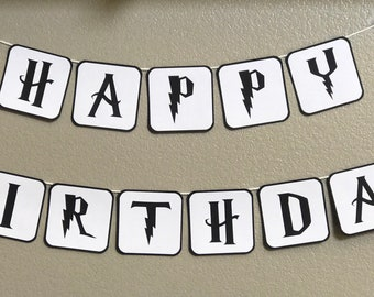 Harry Potter Themed Happy Birthday Banner and 24 Cupcake Toppers