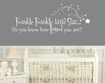 Twinkle Twinkle Little Star Wall Decal - Nursery Wall Decal - Baby Room Decal - Twinkle little star wall decor - Nursery wall art - Wall art