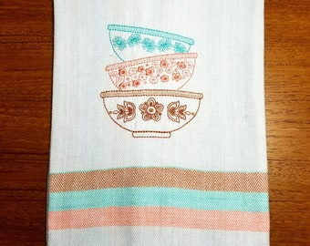 Vintage Pyrex Bowls embroidered tea towels kitchen towels Pink Daisy Spring Blossoms Butterfly Gold 100% Cotton