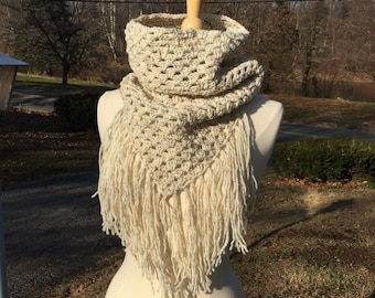 Long fringe scarf, beige bandana scarf, crochet triangle scarf, crochet cowl scarf, womens scarves, gift for her, mothers day gift