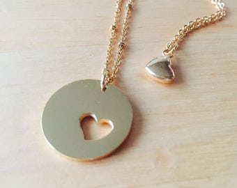 Mother's Day girl matching necklace mother daughter gift gold generation necklace Mother Heart Necklace Mom