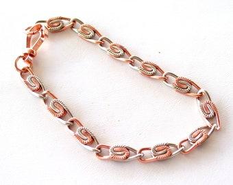 Vintage Copper Silver Bracelet, Paperclip Link Bracelet, Mixed Metals Bracelet, S Link Bracelet, Vintage Copper Modernist Link Bracelet