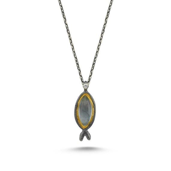 24 Karat Gold Aquamarine Necklace, Silver Diamond Fish Necklace, Pisces Necklace, Natural Gemstone Necklace, Fish Necklace, Gold Necklace