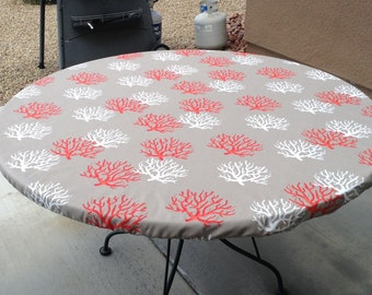 Round Fitted Tablecloth With Seat Cushions In Red With White