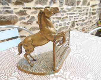 Vintage French Brass Horse Statue.