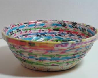 Multicolored Upcycled Newspaper Handmade Decorative Bowl, Keys, Trinkets, Jewelry