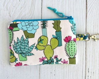Cactus Coin Purse with Swivel Clip/ Mini Zipper Pouch/ ID Card Wallet/ Keychain Coin Purse