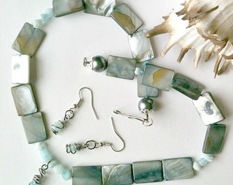 Wire Wrapped Steel Blue Necklace and Earring Set, Handmade