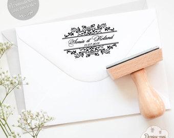 """Tampon mariage personnalisé """"Baroque"""" - pour une décoration originale de vos faire-parts / enveloppes de mariage"""