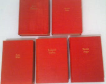 Vintage Set of 5 Books from 1927, The Works of Ibsen, Kipling, Hugo, Wilde and Tolstoi