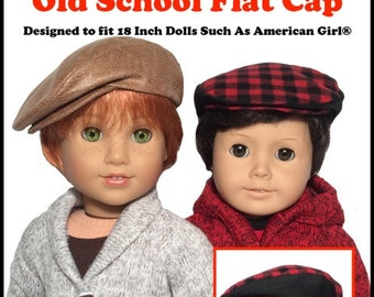 Pixie Faire QTπ Doll Clothing Old School Flat Cap Doll Clothes Pattern for 18 inch American Girl Dolls - PDF