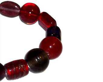 Red and Purple Glass Beaded Bracelet