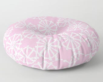 Pink floor cushion . Round cushion . Pink Pillow . Round pillow . Floor pillow . Geometric pillow . 26 inch pillow . 30 inch pillow