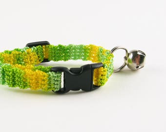 Cat Collar Crochet Lemon Lime Yellow Green Ombre Breakaway Collar Kitty Kitten
