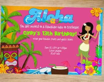 Luau Birthday Invitation - Luau Invitation - Luau Invite - Printable Invitation - Digital - Aloha Invitation