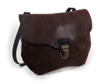 Small brown leather shoulder bag