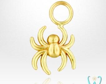 14K Tiny Spider - Hoop Earring Charm