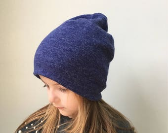 Slouchy Beanie / baby beanie hat / air force blue winter hat / jersey knit wool feel hat / toddler beanie / kids beanie / hipster baby