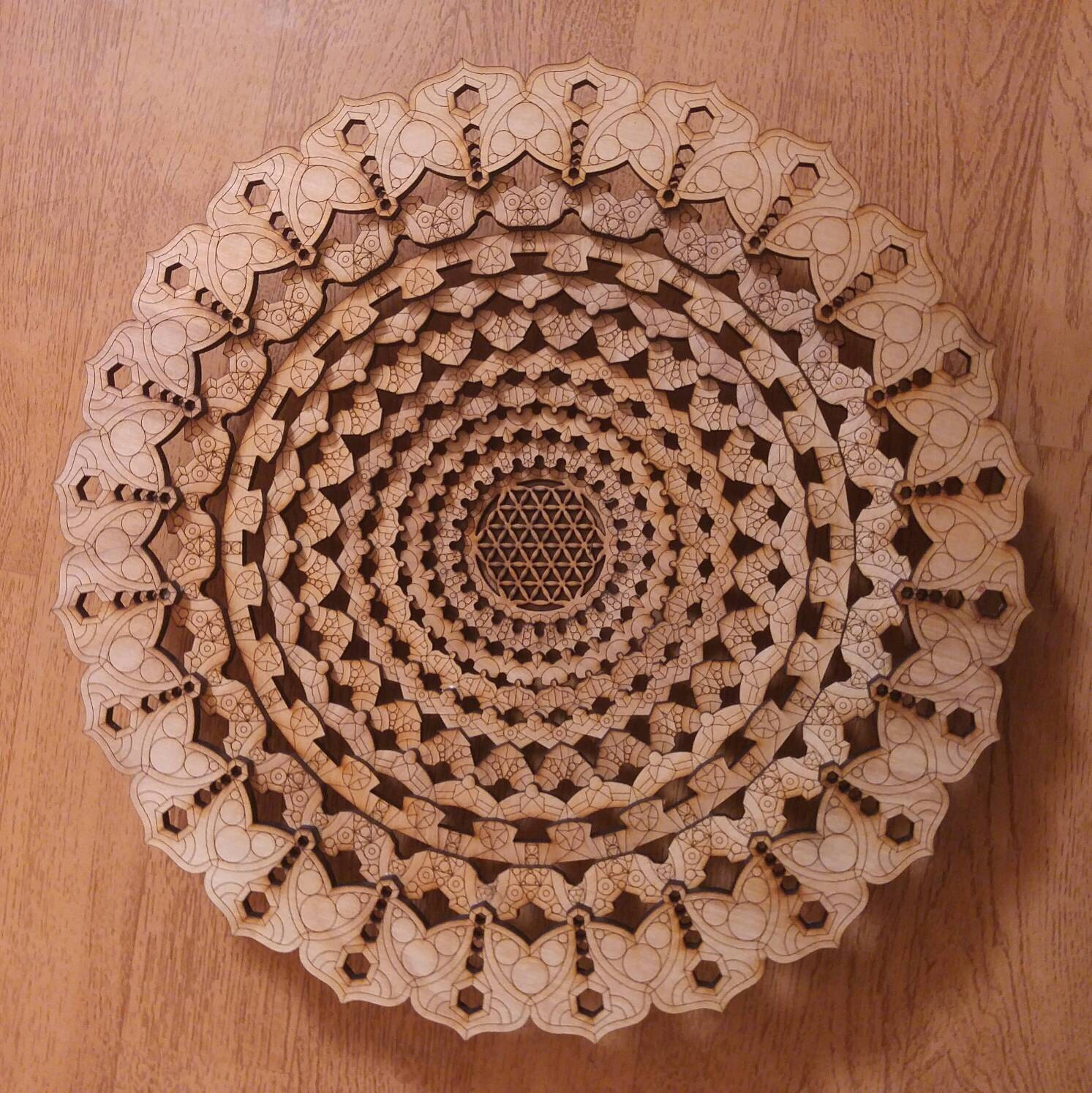 Mandala Decorative Bowl Laser Cut Flower Of Life Lotus Decor