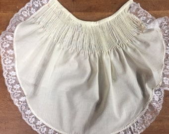 Pale yellow Ready to smock baby bib, Imperial  batiste, heirloom lace edging