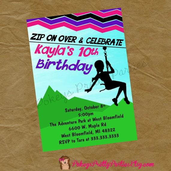 Girls ZIPLINE Birthday Party Invitation Invite Zip Line