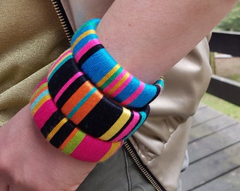 A set of 3 ethnic tribal yarn wrapped bracelets, colorful bracelets, boho bracelets, folk, stripes