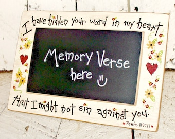 Scripture Memory Mini Chalkboard, Verse of the Week, Bible Verse Sign, Tabletop Chalkboard, Hand Painted Rustic Decor, Primitive Farmhouse
