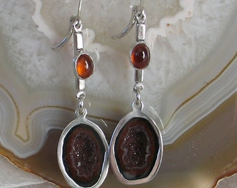 Beautiful Tobasco Geode and Citrine Sterling Dangle Earrings