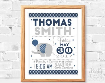 Navy Elephant Baby Announcement, Printable Birth Stats, Modern Baby, Birth stats, Wall Nursery Art ,Instant Download -D385 BBEN1
