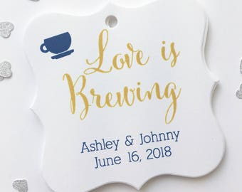 Love Is Brewing Favor Tags, Tea or Coffee Cup Wedding Favor Tags, Wedding Hang Tags  (FS-095)