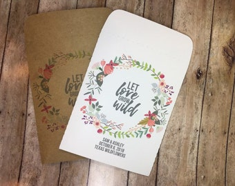 25 Let Love Grow Wild Red and Pink Personalized Envelope Seed Packets Wedding Favors in White or Kraft WITH SEEDS - Rustic, Custom
