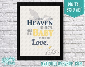 Printable 8x10 Gender Neutral Dumbo Baby to Love Typography Digital Art Print | High Resolution JPG File, Instant Download, Ready to Print