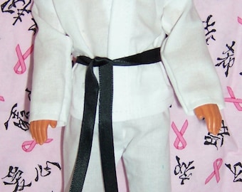 White Karate Outfit for Male Fashion Dolls