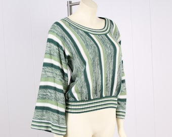 vintage 70s space dye green stripe slouchy knit sweater top bell sleeve high waist boho hippie shirt size small medium