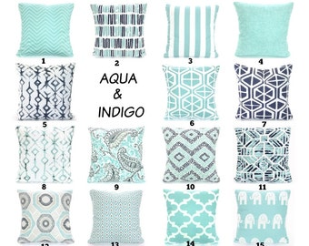Aqua Navy Throw Pillow Covers, Aqua Cushions, Aqua Indigo Taupe Gray Decorative Pillows Chevron Paisley Tribal Couch Bed Sofa VARIOUS SIZES