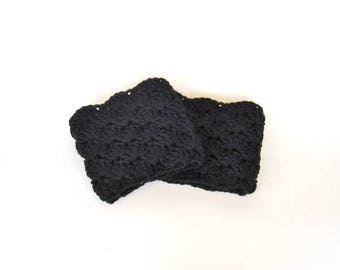 Black Crochet Boot Cuffs, Black Boot Toppers,  Boot Accessory, Legwarmers