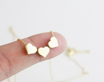 Gold 3 hearts Necklace  bridesmaid Gift  Bridesmaid Necklace Dainty and Delicate Everyday Necklace