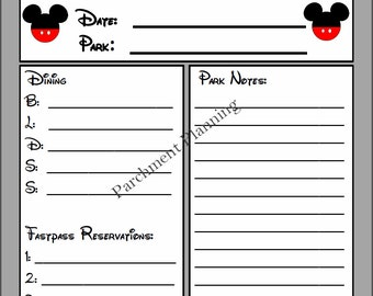 Only 0.99! Disney Daily Vacation Planning Guide - Grey or white background