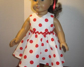 White and red polka dot dress for AG  and other 18 inch dolls