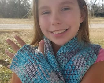 Argyle Fingerless Gloves, Wristers and Scarf Wrap in Icelandic Colorway