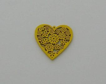 2 heart beads yellow 40x39mm wood