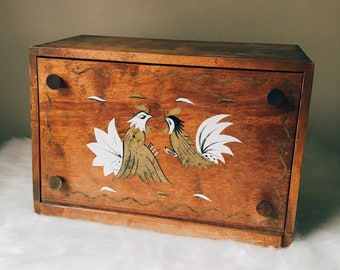 Handpainted Wooden Bread Box, Gold and White Roosters, Farmhouse Kitchen