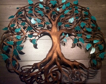 Teal Sparkle Tree Of Life Infinity Tree Wall Decor Wall Art Metal Tree Art  38 Inches