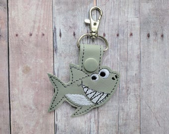 Shark Key Chain, Gray Vinyl with Black, Gray and White Embroidery and Gray Snap, Clips to Backpack, Keys, Tote Bag, Shark Week Gift