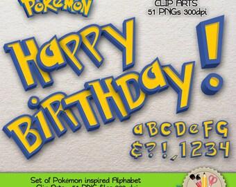 DIGITAL ALPHABET Clip Art Pokemon Scrapbooking Digital Download