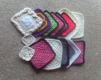 Set of 15 pieces,granny,squares,yarn,fiber,supplies,crafts,lapghans,afghans,clothing,bags,appliques,crochet